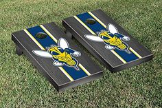 University of Rochester Yellowjackets Cornhole Game Set Onyx Stained Stripe Version >>> Check out the image by visiting the link.