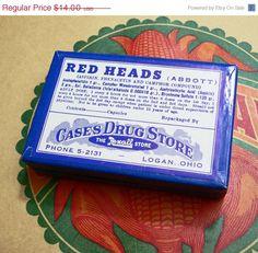 SALE 50s REDHEADS MEDICINE Box Vintage Belladonna Strychnine Ohio