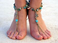 Barefoot Sandals Barefoot Beach Jewelry Blue Seashells Hippie Sandals Foot Jewelry Toe Thong. $20.00, via Etsy.