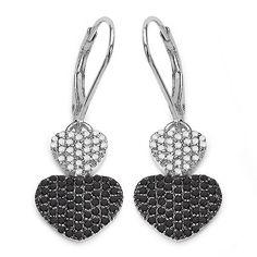 Exklusive 0,94 Carat schwarze u. weiße Diamant Herz Brisuren in 925 Silber TOP