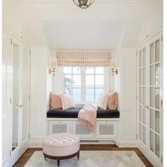 Let these window seat room ideas inspire you to create additional seating, more storage, and more relaxing moments in your home. Pink Closet, Closet Bedroom, White Closet, Closet Paint, Dressing Room Closet, White Wardrobe, Dressing Area, Dressing Rooms, Wardrobe Closet