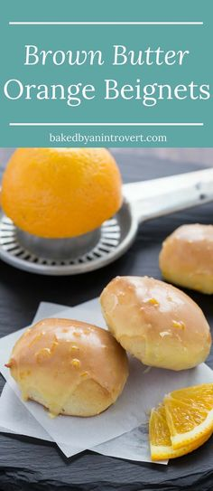 Nothing can compare to a soft baked Brown Butter Beignet topped with a sweet orange brown butter glaze. There's big flavor in these bite-sized treats! #AD /redstaryeast/
