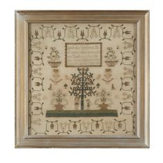 Adam and Eve needlework sampler, 'Jane Jones her work ag(e) 14, 1838'