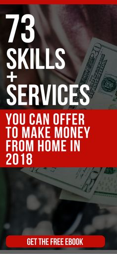 FREE EBOOK: 73 Skills And Services You Can Offer To Make Money From Home In 2018 freelance jobs | work at home | work from home jobs legitimate 2018 #makemoneyfromhome #makemoneyonline #makemoneyonline