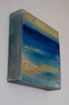 6by6  15 inch thick  canvas abstract ocean  by Giftsforyoumadebyme, $50.00