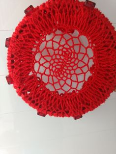Apanhador de sonhos com toalhinha de crochê