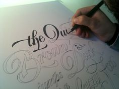 Hand lettering.