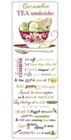 Cucumber Tea Sandwiches Recipe 100% Cotton Flour Sack Dish Towel Tea Towel