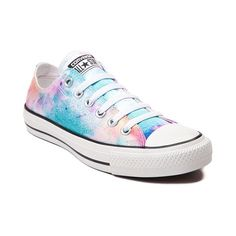 Cross the fashionable finish line with the All Star Lo Splatter Sneaker from Converse! Inspired by an untimed paint race where runners are showered with colored powder, these colorful, low top Chucks rock a Color Run inspired satin upper with signature Chuck Taylor cap-toe. Only available at Journeys and SHI by Journeys!