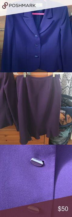 Purple suit with kickpleated skirt Super cute purple suit with button detail and a kickpleated skirt.  In excellent used condition. Worn only one time. Le Suit Skirts Skirt Sets