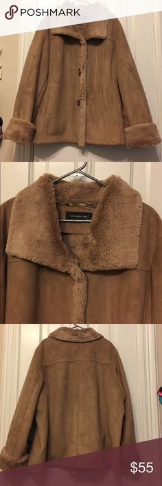 ✨Jones New York Faux suede Sherpa lined coat ✨ Only worn 3 times, freshly dry cleaned ❤️ perfect condition just doesn't fit me. My loss is your gain!! Jones New York Jackets & Coats