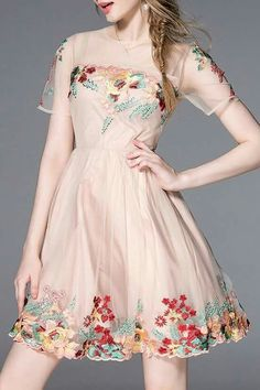 Shop dandanwinnie light pink embroidered floral mesh dress here, find your mini  dresses at dezzal, huge selection and best quality.