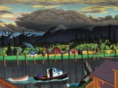 Hughes painting 'Mouth of the Courtenay River' Emily Carr, Group Of Seven, Art Story, Canadian Artists, Vancouver Island, British Columbia, Coastal, Journey, Canvas