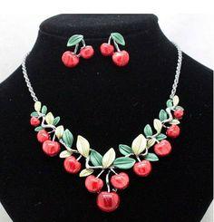 CHERRIES Necklace & EARRINGS Metal Jewelry Parure par FeverVintage