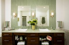 Green Tile Bathroom eclectic bathroom around the mirrors again