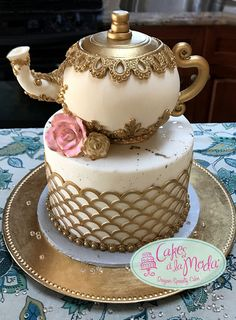 Tea Pot Cake For Tea Party Tea Pot Cake For Tea Party Tea pot all cake. Fondant accents, gum paste roses. Earl grey tea cake, earl grey infused butter cream,... #featured-cakes #mothers-day #tea-cup #teapot #tea #teacup #cakecentral