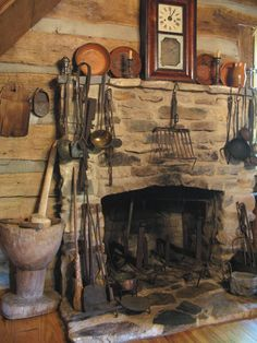 Early Kitchen with Hearth and accessories. Country Fireplace, Rustic Fireplaces, Fireplace Hearth, Stove Fireplace, Kitchen Fireplaces, Primitive Kitchen, Old Kitchen, Country Primitive, Country Farmhouse
