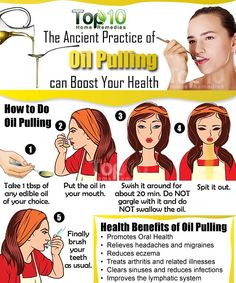 Prev post1 of 2Next Oil pulling is an ancient Ayurvedic procedure. It is highly beneficial for your health, especially oral health. Simply put, it involves using a vegetable oil as a mouthwash to pull out bacteria and toxins, and dissolve them in the liquid. When you finally spit out the oil, all the bacteria and