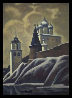 Ossovski, Petr Pavlovich  1925 - Pskov Kremlin Oil on board 122 x 90cm - See more at: http://www.russianartdealer.com/galleries/russian-art#sthash.TgOPYsRO.dpuf