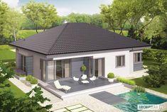 Projekt domu Eris II (wersja C) energo Modern Bungalow Exterior, Modern Bungalow House, Bungalow House Plans, Modern Small House Design, Home Modern, Simple House Design, My House Plans, Modern House Plans, 2 Storey House Design