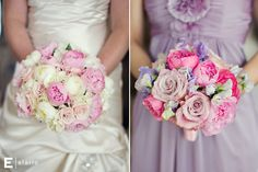 bridal bouquet with pink and white peonies and light pink roses