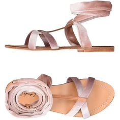 George J. Love Sandals ($76) ❤ liked on Polyvore featuring shoes, sandals, skin colour, rubber sole sandals, round toe flat shoes, velvet flat shoes, flat sandals and patterned shoes