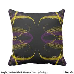 Purple, Gold and Black Abstract Fractal Pillow