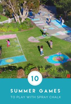 Play summer games with sidewalk chalk this year. These DIY games with Testors Spray Chalk are the pe Outdoor Games To Play, Outdoor Games For Toddlers, Easy Games For Kids, Outdoor Party Games, Fun Outdoor Activities, Games For Teens, Summer Activities For Kids, Kid Activities, Family Party Games