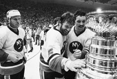 Denis Potvin and The New York Islanders Ready To Take The Stanley Cup Home To Long Island! -Hooked On Hockey Hockey Teams, Hockey Players, Denis Potvin, Mike Bossy, Nhl News, Stanley Cup Champions, New York Islanders, Babe Ruth, National Hockey League