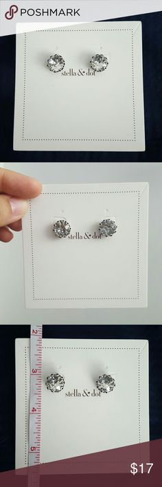 Stella & Dot stud earrings Stella & Dot stud earrings. I believe these are the vintage crystal studs. Measures 1/2 inch across. I think these are new because they are still attached to the original paper and the paper has not been punched out. Does not include a box. No trades. Cheaper on M. Stella & Dot Jewelry Earrings