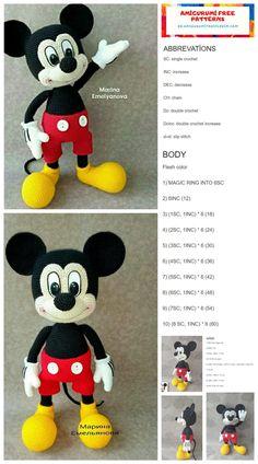 Crotchet Patterns Free, Crochet Bunny Pattern, Crochet Amigurumi Free Patterns, Mickey Mouse Doll, Crochet Mickey Mouse, Doll Amigurumi Free Pattern, Crochet Doll Tutorial, Stuffed Animal Patterns, Minne