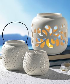 Love this White Lantern Set by Grasslands Road on #zulily! #zulilyfinds