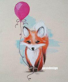 Kleiner Fuchs mit Ballon Zeichnung Illustration Drawing