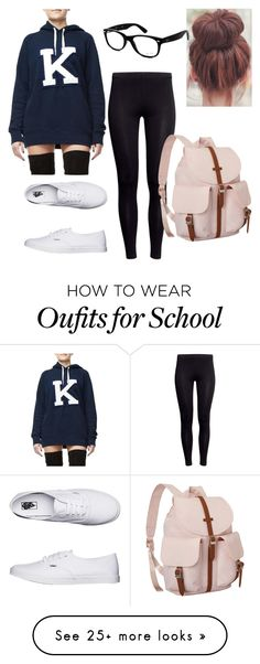 """""""London Trip -Plane outfit-"""" by ninellaah on Polyvore featuring H&M, Vans, Herschel Supply Co. and Ray-Ban"""