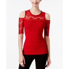 Inc International Concepts Lace Cold-Shoulder Sweater, ($59) ❤ liked on Polyvore featuring tops, sweaters, real red, cut out shoulder top, cut-out shoulder sweaters, red sweater, cutout tops and lace detail top