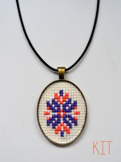 Items similar to Cross Stitch Necklace Pendant Embroidery Kit on Etsy Modern Embroidery, Embroidery Kits, Baba Marta, Handmade Jewelry, Unique Jewelry, Handmade Gifts, Christmas Journal, Lassi, Craft Kits