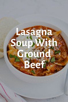 Lasagna Soup With Ground Beef recipe can't get any simpler or extra delicious! It boasts layers of cheesy noodles smothered in wealthy marinara infused with garlic, onion and Italian spices all smothered Parmesan, mozzarella and ricotta Best Soup Recipes, Healthy Soup Recipes, Cooking Recipes, Easy Vegan Soup, Soup With Ground Beef, Italian Spices, Lasagna Soup, Slow Cooker Soup, Ground Beef Recipes