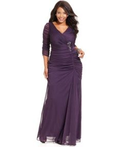 MOB option- Adrianna Papell Plus Size Three-Quarter-Sleeve Ruched Gown | macys.com