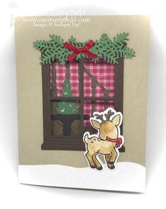Seasonal Chums Christmas Staircase Hearth and Home Reindeer Window Card - 1 Cat Christmas Cards, Christmas 2017, Holiday Cards, Christmas Staircase, Window Cards, Hearth And Home, Reindeer, Stampin Up, Windows