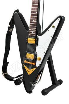 OZMiniGuitar - Miniature Guitar Reverse Flying V Black, AU$23.90…