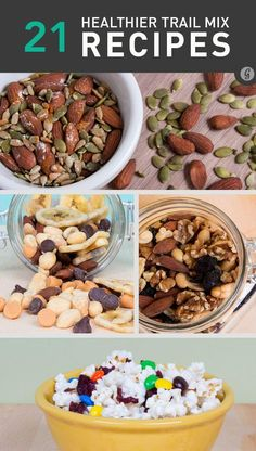 21 Healthier Trail Mix Recipes~ Trail Mix is always a big hit  with clients when we cater corporate meetings. http://www.experiencejubilee.com