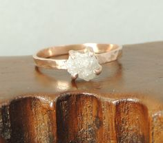 14k Rose Gold Rough Diamond Engagement Ring, Handmade