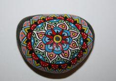 Hand Painted Stone Mandala on Small Black River Stone Inspiration Meditation Gift
