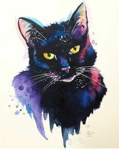 Cute Animal Drawings, Cool Art Drawings, Watercolor Animals, Watercolor Art, Tattoo Gato, Black Cat Art, Cat Drawing, Cats And Kittens, Cute Animals