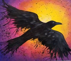 """Awesome """"abstract art paintings tutorial"""" detail is offered on our site. Take a look and you wont be sorry you did. Halloween Canvas, Halloween Painting, Halloween Raven, Easy Halloween, Acrylic Painting Tutorials, Painting Techniques, Watercolour Tutorials, Painting Videos, Crow Painting"""