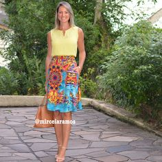 Look de trabalho - look do dia - look corporativo - moda no trabalho - work outfit - office outfit - spring outfit - look executiva - summer outfit - saia midi estampada - blusa amarela - yellow