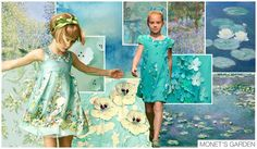 Girls + Boys Themes S/S 2015, Fashion Snoops MONET'S GARDEN, The paintings of Claude Monet inspired this subtle garden theme. Floral prints work harmoniously with blue and green hues to give an impression of a garden rather than bluntly showcasing flowers. Silhouettes are girly and playful ranging from flowing dresses to embellished tops with taffeta shorts. Tonal floral appliques and lace dress up this look, while the natural green and blue colors remind us to stop and smell the flowers.
