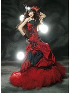Lovely Red and Black Mermaid Gothic Wedding Dress Skull WeddingMasquerade WeddingChinese WebsiteFalling