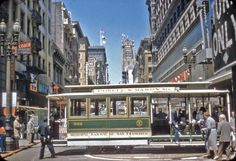 Cable cars in San Francisco, California, 1958