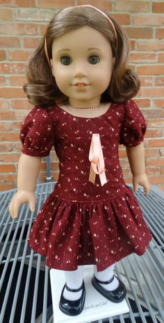 Rosebuds on burgundy School Girl Dress for American Girl dolls by Designed4Dolls on Etsy $16.95